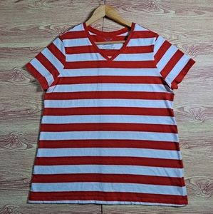 Faded Glory Striped Top Red White XXL EUC